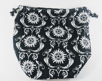 Supernatural Drawstring Bag, Occult Bag, Black Bag, Drawstring Bag, Pentagram Bag, Chaotic Bag, Black Dice Bag, Project Bag, Knitting Bag