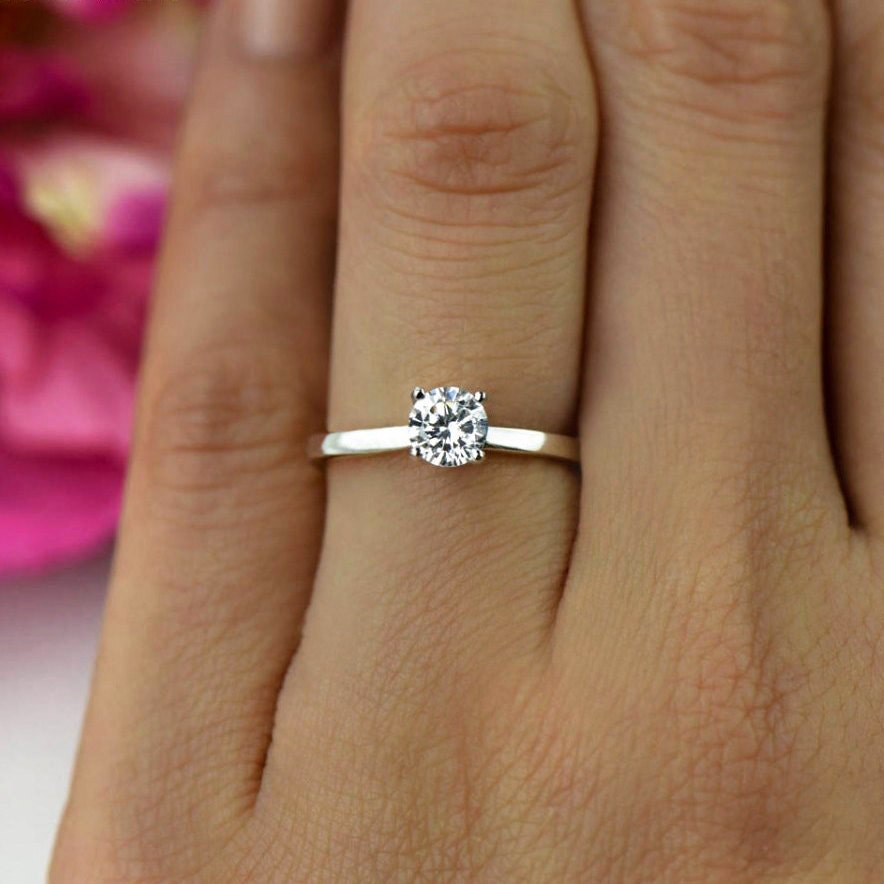 12 ct Promise Ring Engagement Ring Classic Solitaire Ring