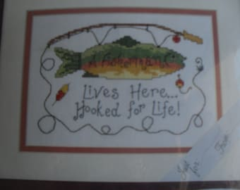 Cross Stitch A Fisherman Lives Here...Hooked for Life Kit to Cross Stitch