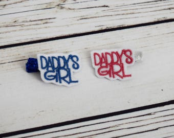 Handcrafted Daddys Girl Feltie Clip Set - Blue and Pink Feltie Clips - Small Hair Clips - Birthday Gift Set - Christmas Stocking Stuffer
