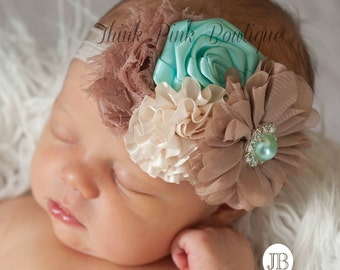 Baby Headband, Baby headbands, Newborn Headband, Flower baby Headband, Baby girl Headband, girl Shabby chic headband, Couture baby headband.