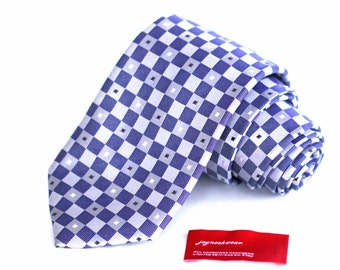 Tie (3 inch wide) in Checkers with Blue Violet Sterling Platinum Silver Grey