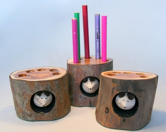 Handmade recycled Log Pencil Holder by Tom Thumb Designs (ref 241)