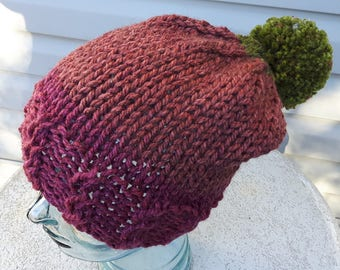 Chunky Hand Knit Ladies'Teen Slouchy Beanie Cabled Brim Pompom Variegated Acrylic Alpaca Burgundy Winter Hat Unique One-of-a-Kind Feminine