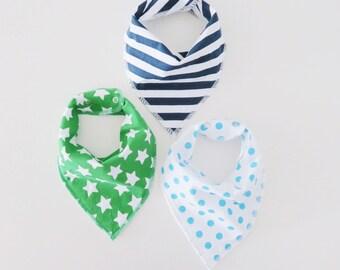 Set of 3 baby bandana bibs, star bib, stripe bibs, polka dot bib, scarf bibs
