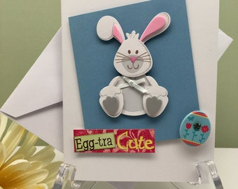 Bunny Card, Easter Greeting Card, Blue Bunny Card, Card for Friend, All Occasion Card, Blank Greeting Card