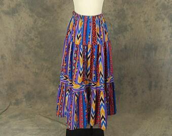 vintage 80s Maxi Skirt - 1980s Long Skirt Soutwestern Tribal Aztec Print Skirt Festival Skirt Sz S M