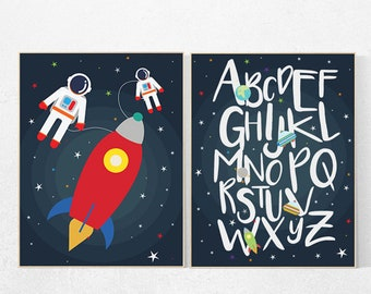 Outer Space Room Art, alphabet letters, Space nursery decor, alphabet nursery Art, set of 2 prints, Boy Nursery Space Decor, ABC nursery