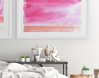 Pink Wall Art, Pink Artwork, Abstract Landscape, Abstract Wall Art, Painting, Abstract Watercolor Art, Abstract Print, Large Wall Art