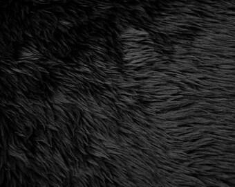 PRE CUT***Shaggy Luxury Faux Fake Fur Fabric (Black)