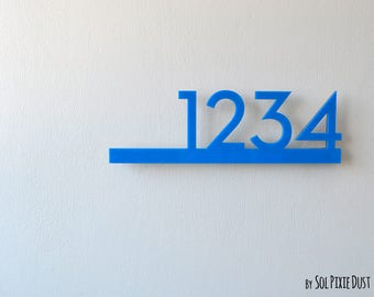 Modern House Numbers - Blue with Black Acrylic - Contemporary Home Address - Sign Plaque - Door Number