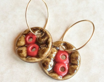 Porcelain Earrings, Red and Bronzy Earrings, Gold Filled Hoops, Brassy Brown and Red Earrings, Handmade Porcelain Earrings, Ceramic Earring