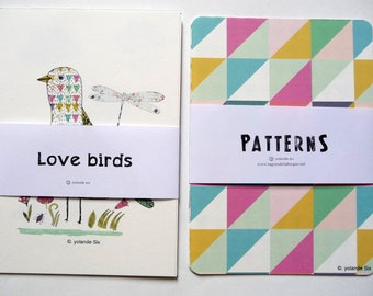 Set of cards - Geometric patterns cards and birds illustration cards - postcards or to frame size 4 x 6 inch - 10, 5 x 15 cm - 8 cards