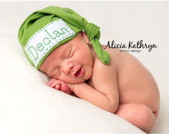 Personalized newborn Baby Top Knot Hat with Name Blue, gray, green or pink hosital hat