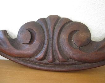 Vintage Hand Carved Wood Furniture Piece Architectural Salvage Pediment Millwork Arch