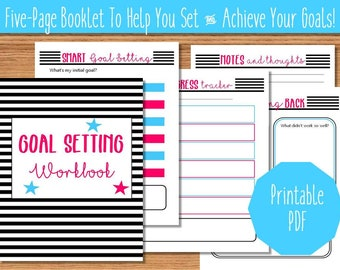 Bold Goal Setting Workbook Printable - Goal Tracking Pages - Printable Goal Pages - SMART Goal Setting Pages - Achieve Your Goals
