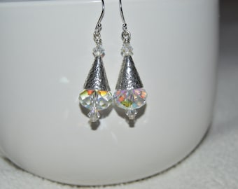 Swarovski Crystal AB Briolette and Sterling Silver Cone Earrings
