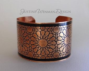 Copper Cuff Etched w/ Stars Motif, Geometric Shapes, Symmetric, Decorative, Woman's Bracelet