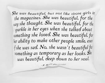 She Was Beautiful Pillow, F. Scott Fitzgerald