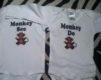 twin baby girls, matching twin outfits, twin baby clothes, monkey baby shower, monkey baby gift, little monkey baby, little monkey gift