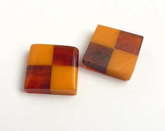 Vintage Bakelite Stones, Made by Swank, checkered butterscotch & tortoise - 20x20mm - 4 pcs - A50