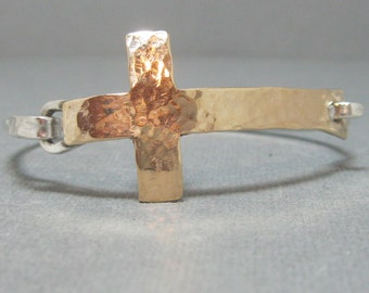 Large Hammered Cross Bracelet in 14 kt gold filled and Sterling Silver Band, Mixed Metal Artisan Hand Forged Hammered Cross Bangle