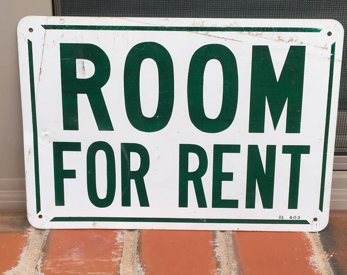 Vintage Metal Sign Room for Rent Green & White Industrial Decor