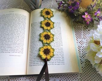 Crochet Bookmark; Sunflower bookmark;Crochet Flower Bookmark; Book Club Bookmarks; Book Club Accessories; Free Domestic Shipping