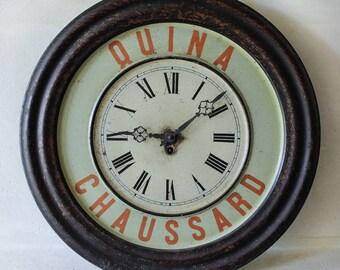 French bistro advertising tin clock QUINA CHAUSSARD aperetif absinthe