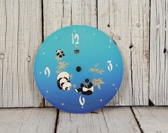 Panda clock part, Vintage clock part, Chinese clock dial, Steampunk assemblage, Findings mixed media, Wall decor, Clock 70's dial, Blue dial