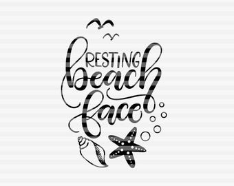 Resting beach face - SVG - PDF - DXF -  hand drawn lettered cut file - graphic overlay