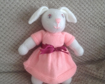 Easter present, Bunny rabbit, hand knitted in pink dress with dark red waist band