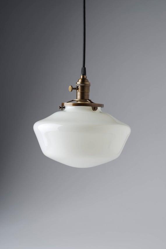 10 white milk glass globe schoolhouse pendant light mozeypictures Gallery