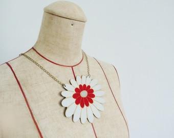 Necklace, kimono fabric, red and white stylised floral, vintage Japanese kimono fabric