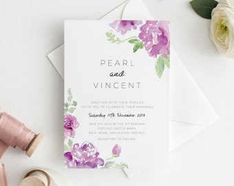 Printable Wedding Invitation | RSVP | Details Card | Evening | PDF | Download | Custom | Botanical | Floral | Watercolour | Pearl suite #95