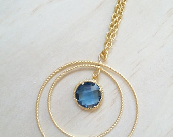 Blue Sapphire necklace Gold circle Birthstone necklace hoop pendant Bridesmaid necklace wedding Jewelry gift for her Something BLUE