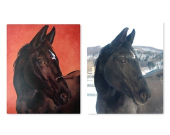 Horse custom portrait painting from photo