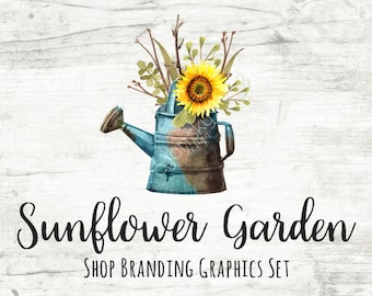 Rustic Sunflower Shop Branding Banners, Avatar Icons, Business Card, Logo Label + More - 13 Premade Graphics Files - SUNFLOWER GARDEN