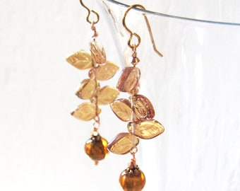 Amber Lampwork Aurora Glass Leaves Earrings, Iridescent Art Glass, Autumn Fall Jewelry, Rose Goldfilled Ear Wire Options