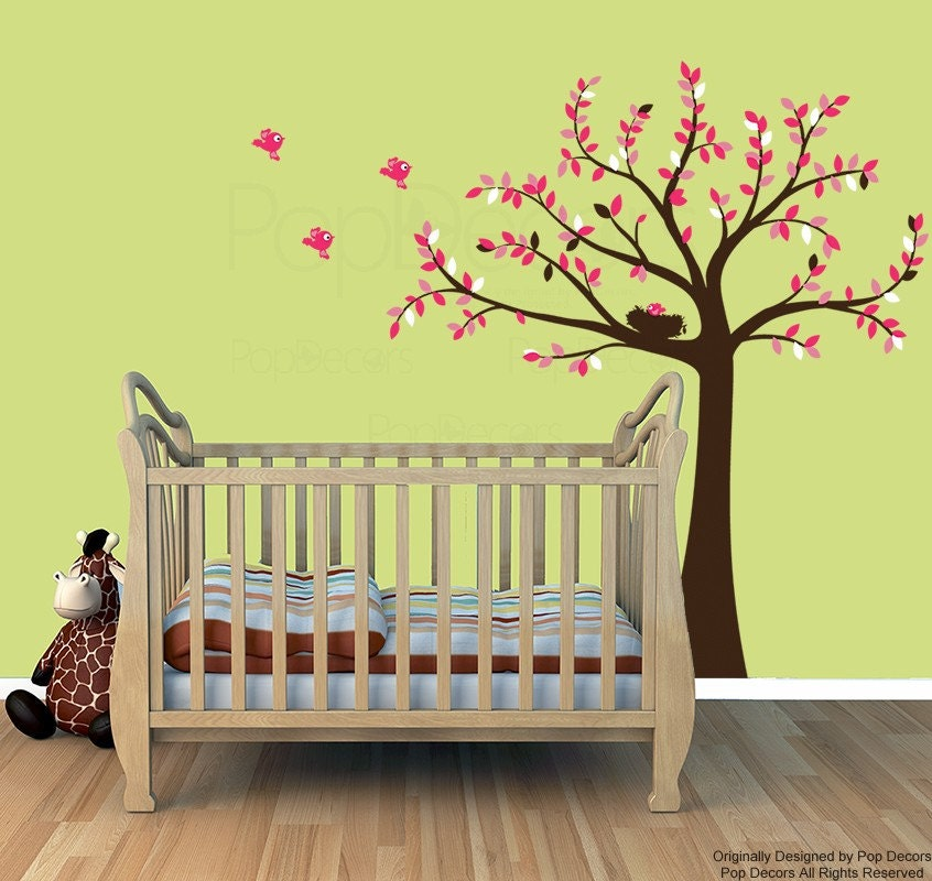 Baby Girl Nursery Tree Wall Decals Pink Leaves Wall Stickers