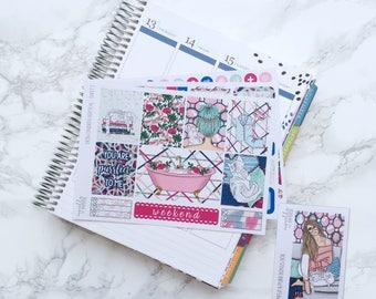 Pamper & Purr ESSENTIALS Planner Sticker Kit (3 Sheets) with Free Bonus Box Girl Sticker - For Erin Condren Vertical Life Planner