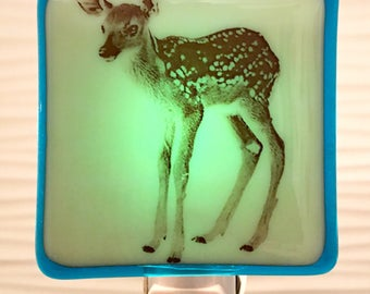 Baby Deer Fawn Night Light Fused Glass