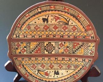 Vintage Peruvian Pottery--Peruvian Terracotta Plate--Peruvian Art Pottery--Incan Pottery--Cusco Peru Pottery--South American Earthenware
