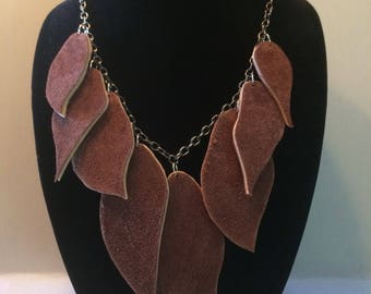 Leather Fallen Leaf Necklace
