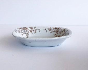 Antique English Ironstone  Dish, Brown Transferware Bowl, Ironstone Soap Dish, J & G Meakin
