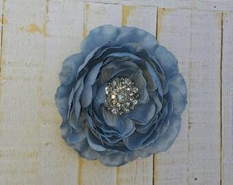 "Blue Flower Clip Blue Hair Clip 4.5"" Ruffle Ranunculus Hair Clip Blue Rhinestone Flower Clip Wedding Bridesmaid Flower Girl Something Blue"