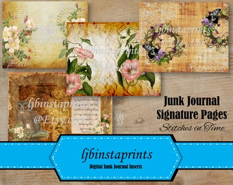 Vintage Floral Junk Journal Kit, DIY Junk Journal Signature Cover Pages, Vintage Junk Journal, Instant Download