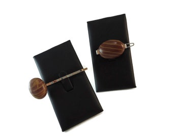 Two Tone Brown Stone Barrette and Bobby Pin Set, Natural Stone Hair Accessories Striped Rock, Set of Two Brown Rock Hair Clips for Women