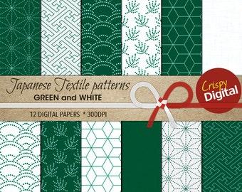 Green White Digital Papers Japanese Patterns  12pcs 300dpi Digital Download Collage Sheets Scrapbooking Printable Paper