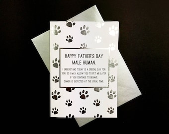 Happy Father's Day Human! - A6 greeting card from The Cat